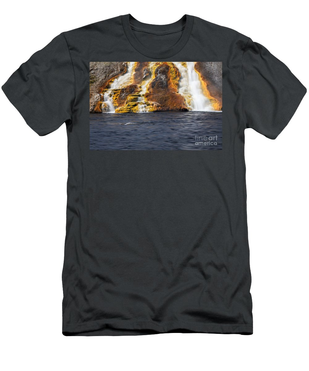 Midway Geyser Basin Men's T-Shirt (Athletic Fit) featuring the photograph Overflow From Excelsior Geyser Runs Into The Yellowstone River by Bryan Mullennix