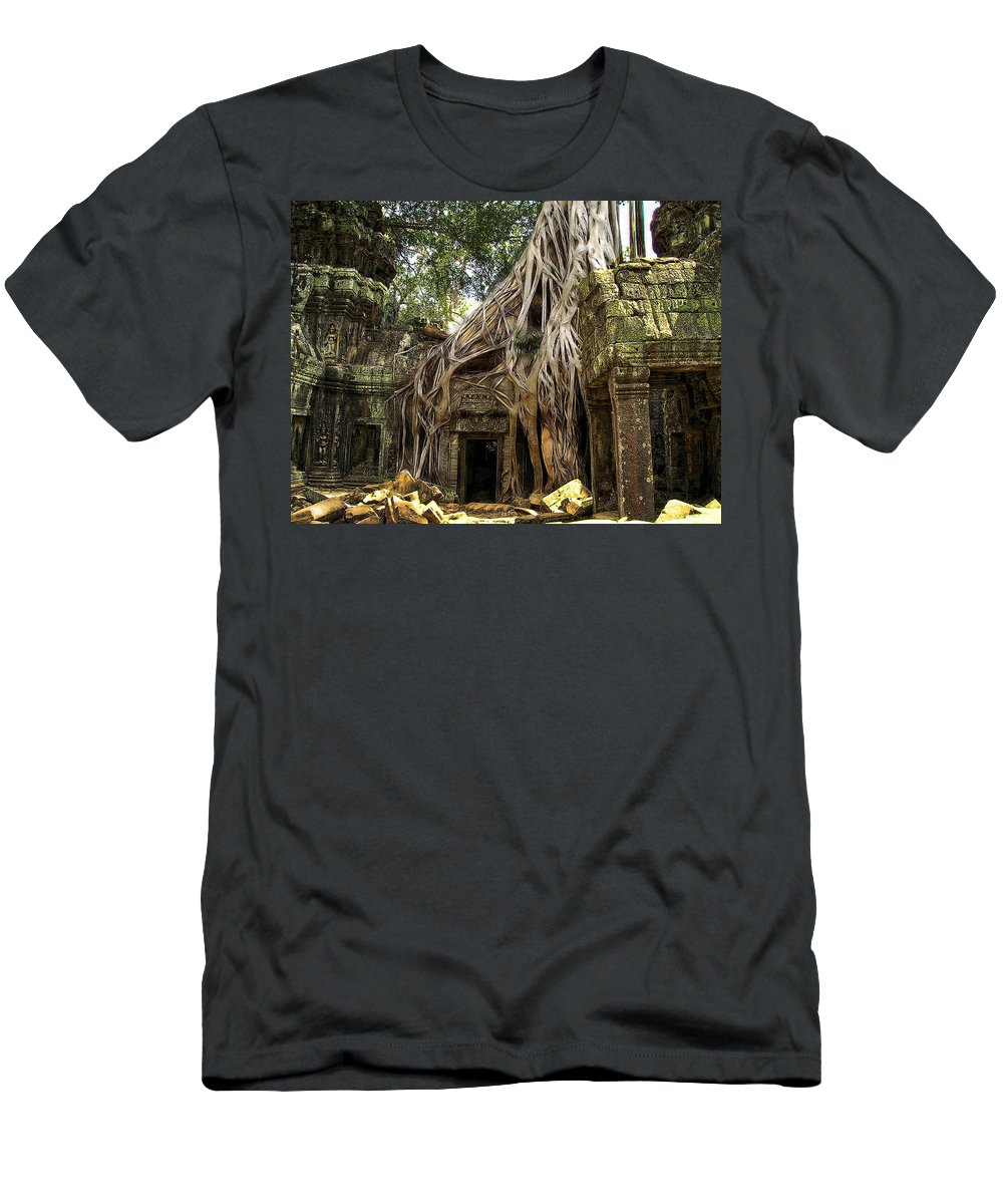 Angkor Men's T-Shirt (Athletic Fit) featuring the photograph Overgrown Jungle Temple Tree by Ericamaxine Price