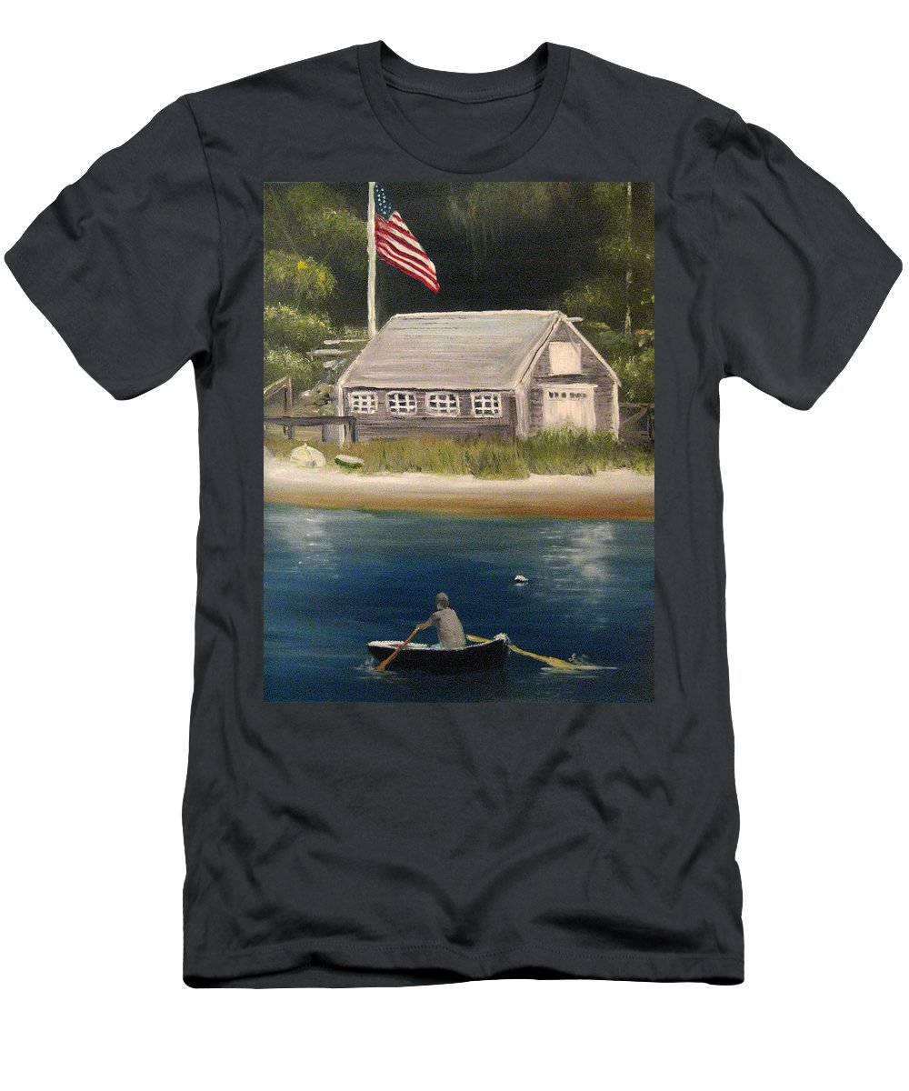 Martha's Vineyard Men's T-Shirt (Athletic Fit) featuring the painting Owen Park by Nick Robinson