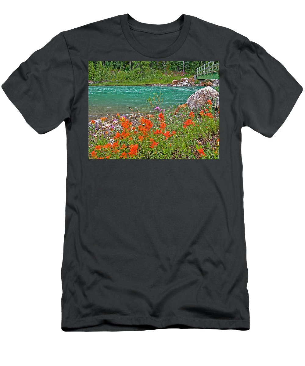 Paintbrush By Bow River In Banff National Park Men's T-Shirt (Athletic Fit) featuring the photograph Paintbrush By Bow River In Banff Np-ab by Ruth Hager