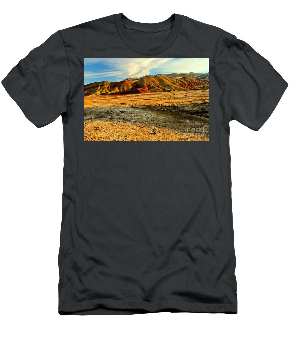 Painted Hills Men's T-Shirt (Athletic Fit) featuring the photograph Painted Hills Sunset by Adam Jewell