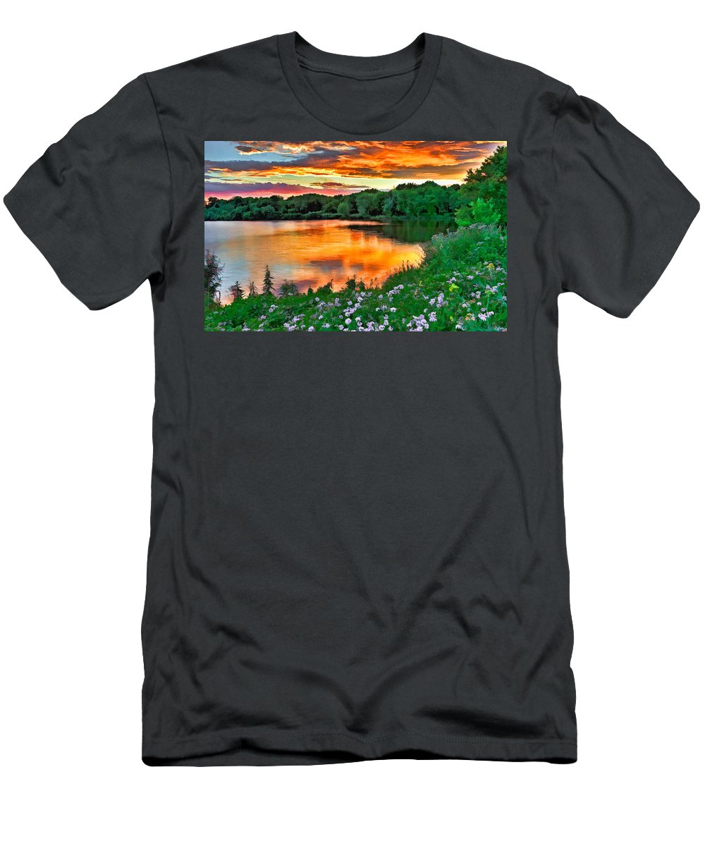 Sunset Men's T-Shirt (Athletic Fit) featuring the photograph Painted Sunset by William Jobes