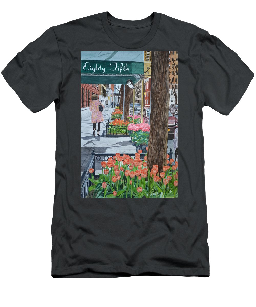 New York Men's T-Shirt (Athletic Fit) featuring the painting Painting The New York Street by Swati Singh