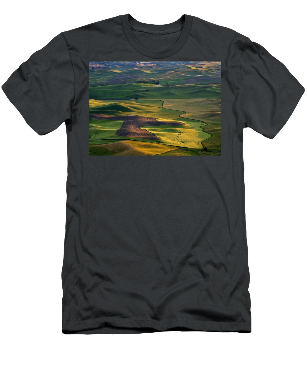 Palouse Men's T-Shirt (Athletic Fit) featuring the photograph Palouse Shadows by Mike Dawson