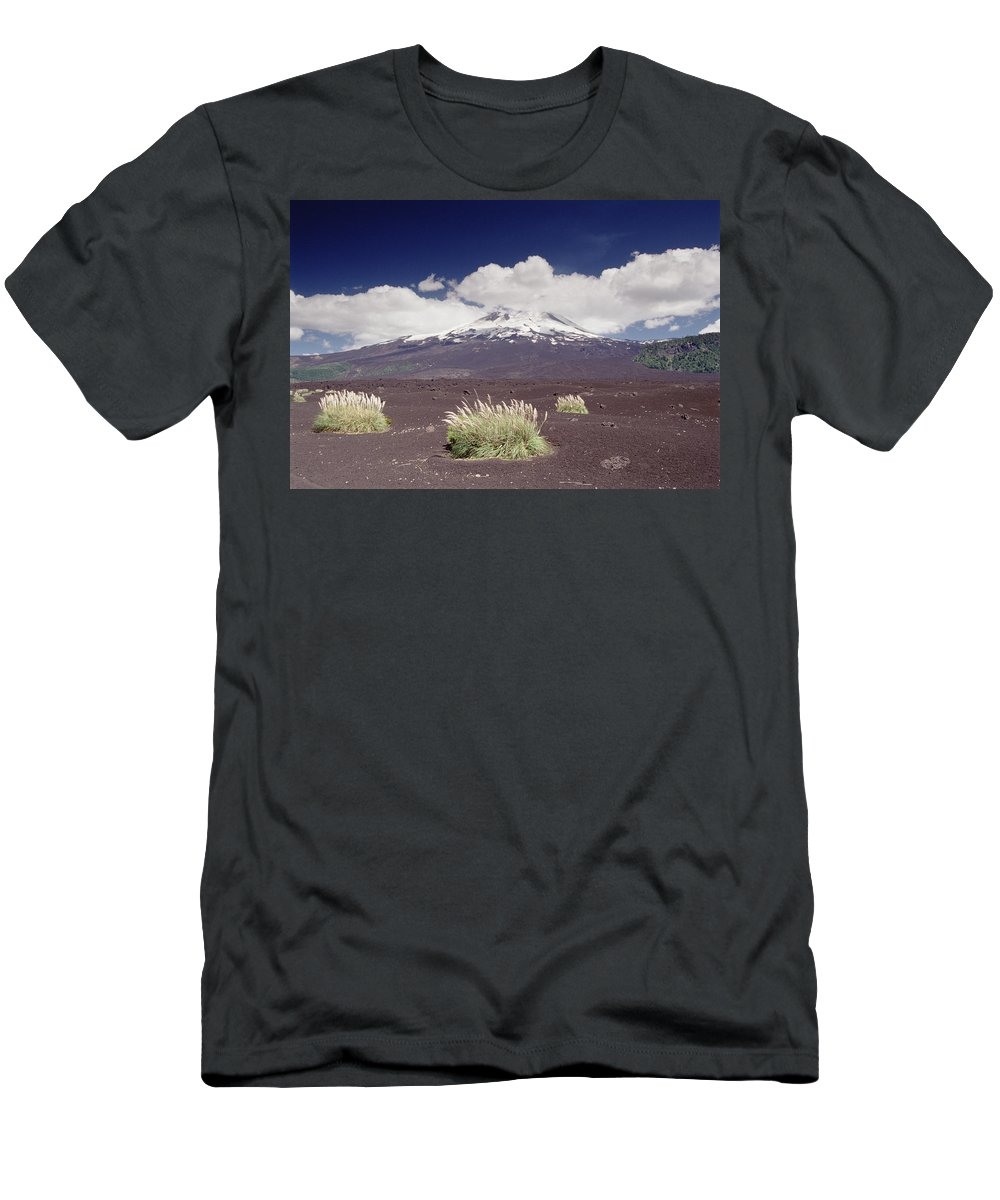 Feb0514 Men's T-Shirt (Athletic Fit) featuring the photograph Pampas Grass And Old Lava Flow Llaima by Gerry Ellis