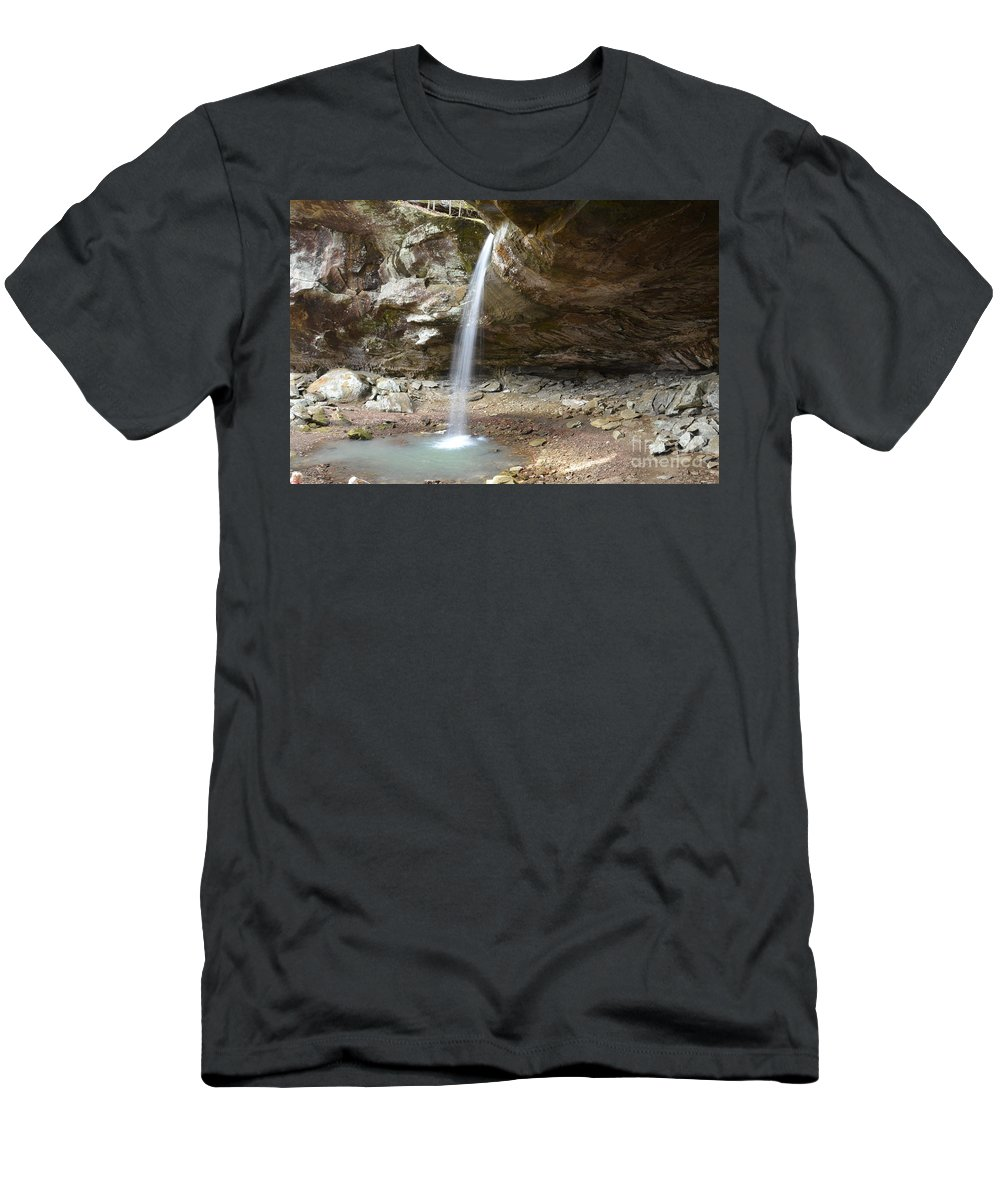 Waterfalls Men's T-Shirt (Athletic Fit) featuring the photograph Pam's Grotto by Deanna Cagle