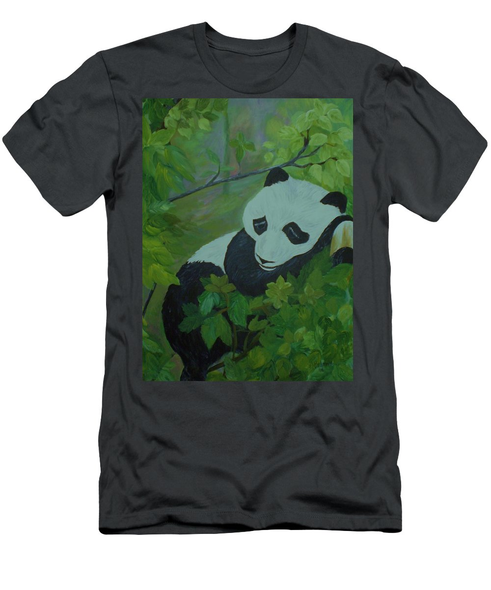 Panda Bear Men's T-Shirt (Athletic Fit) featuring the painting Panda by Christy Saunders Church