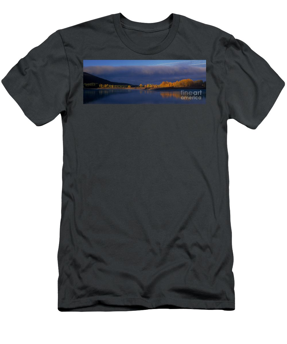 North America Men's T-Shirt (Athletic Fit) featuring the photograph Panorama Clearing Storm Oxbow Bend Grand Tetons National Park Wyoming by Dave Welling