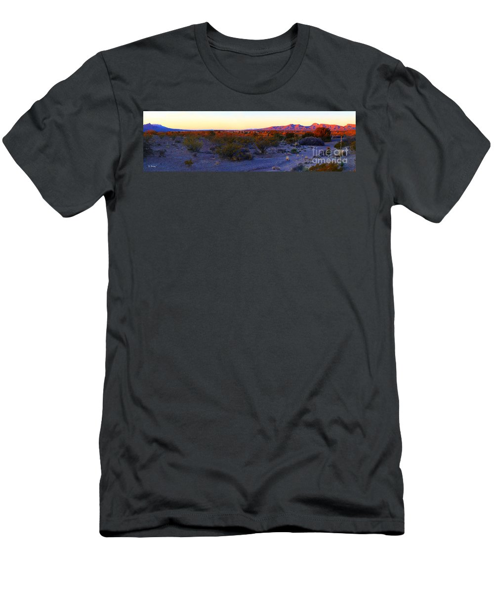 Roena King Men's T-Shirt (Athletic Fit) featuring the photograph Panorama Morning View Of Mountains by Roena King