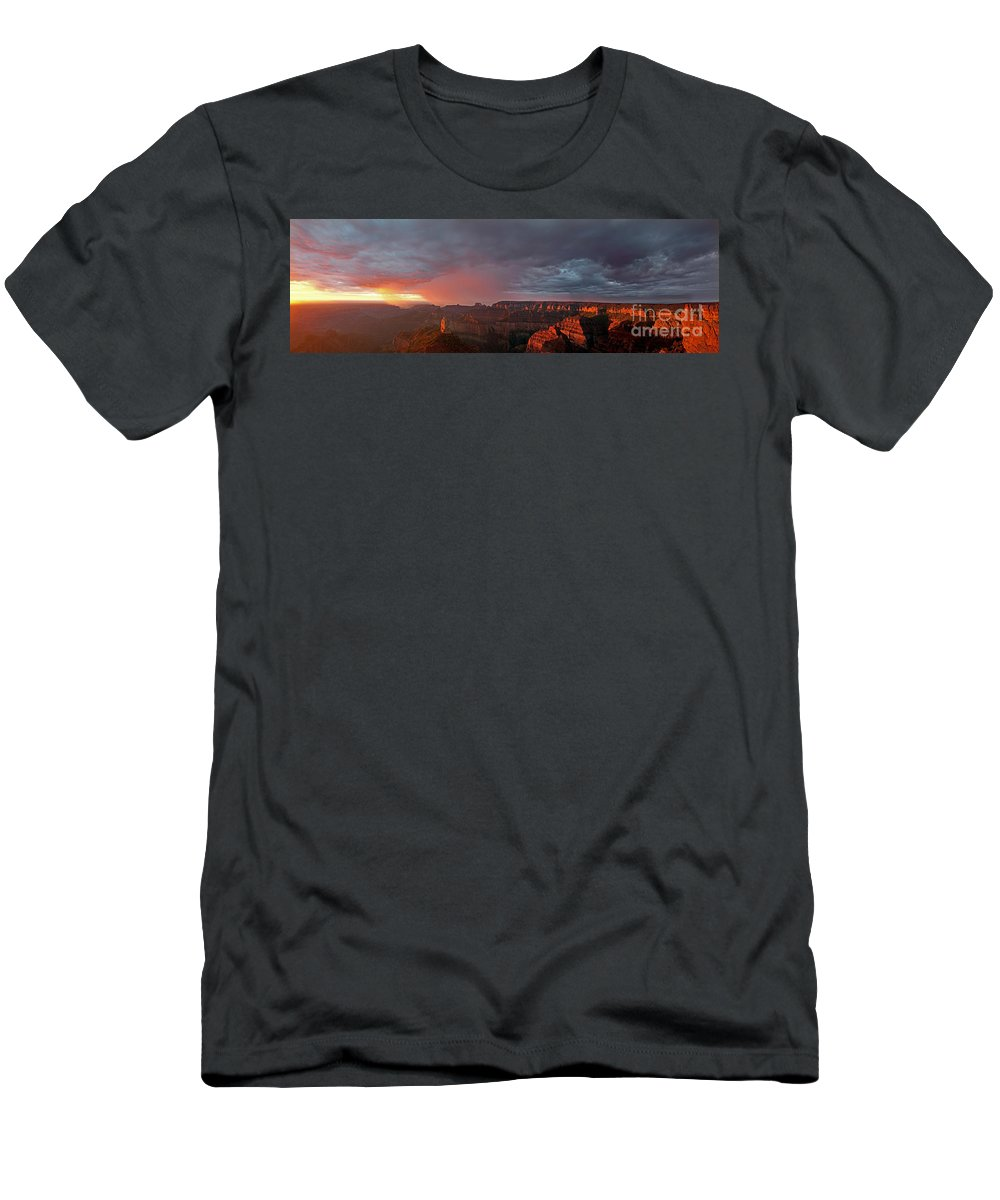 North America Men's T-Shirt (Athletic Fit) featuring the photograph Panorama North Rim Grand Canyon National Park Arizona by Dave Welling