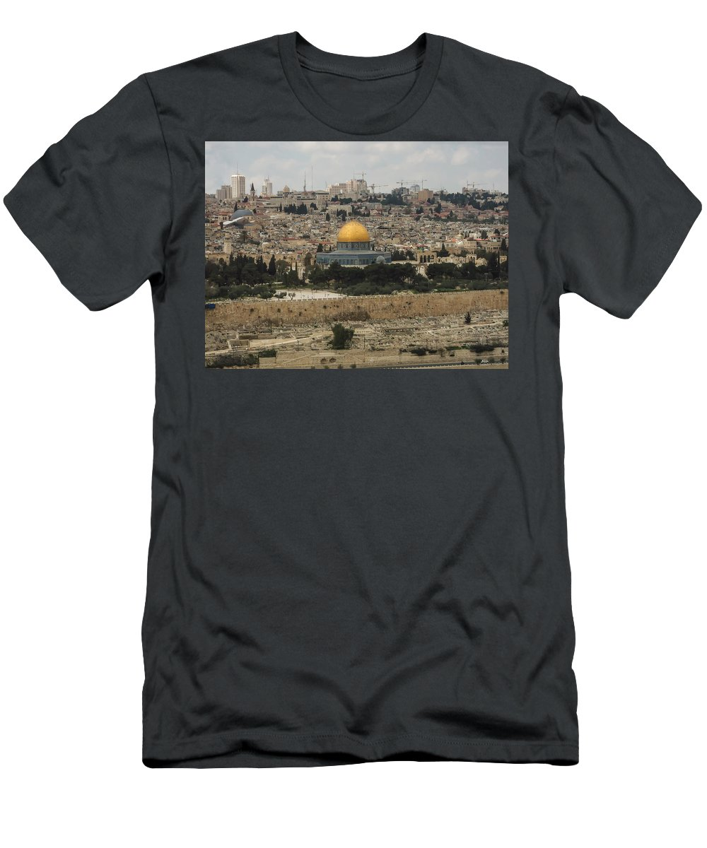 Ancient Men's T-Shirt (Athletic Fit) featuring the photograph Panorama Of The Temple Mount Including Al-aqsa Mosque And Dome by Alex Grichenko