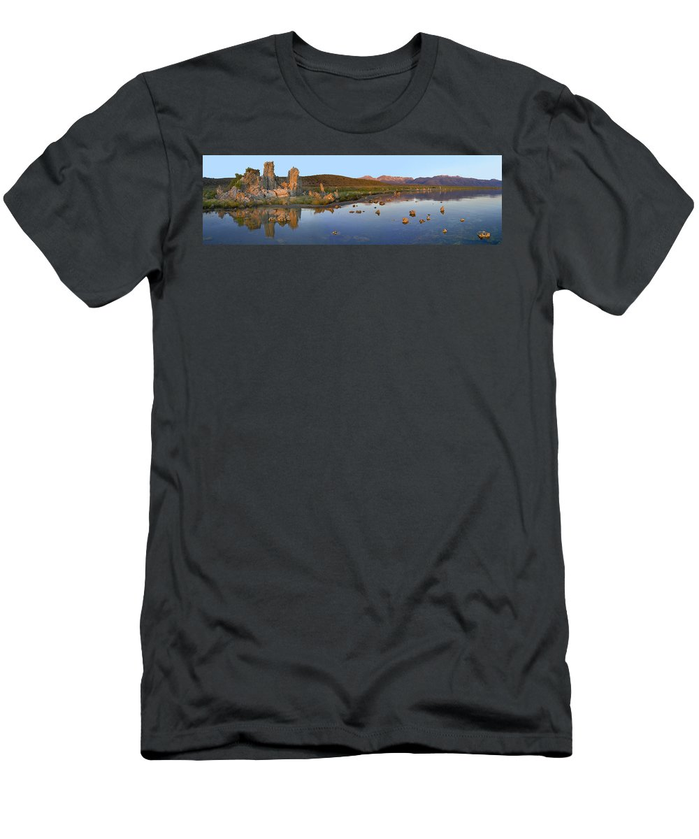 Feb0514 Men's T-Shirt (Athletic Fit) featuring the photograph Panorama Of Tufa Towers Mono Lake by Tim Fitzharris