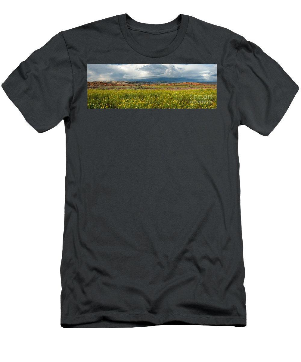 North America Men's T-Shirt (Athletic Fit) featuring the photograph Panorama Striaght Cliffs And Rabbitbrush Escalante Grand Staircase by Dave Welling
