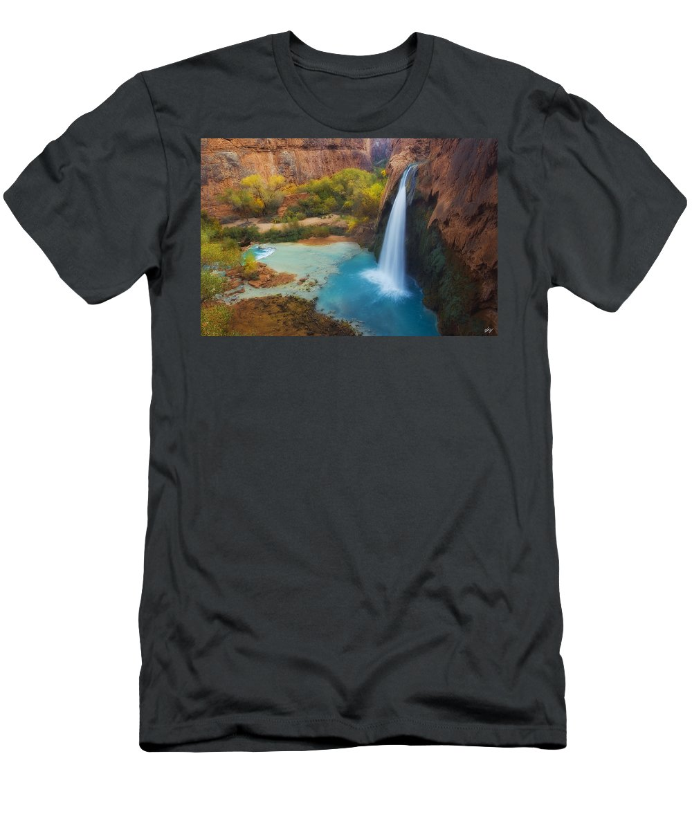 Havasu Falls Men's T-Shirt (Athletic Fit) featuring the photograph Paradise Falls by Peter Coskun