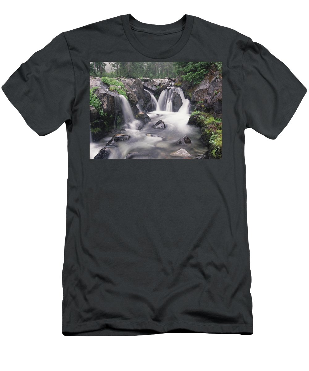 Feb0514 Men's T-Shirt (Athletic Fit) featuring the photograph Paradise River Cascade Mt Rainier by Tim Fitzharris