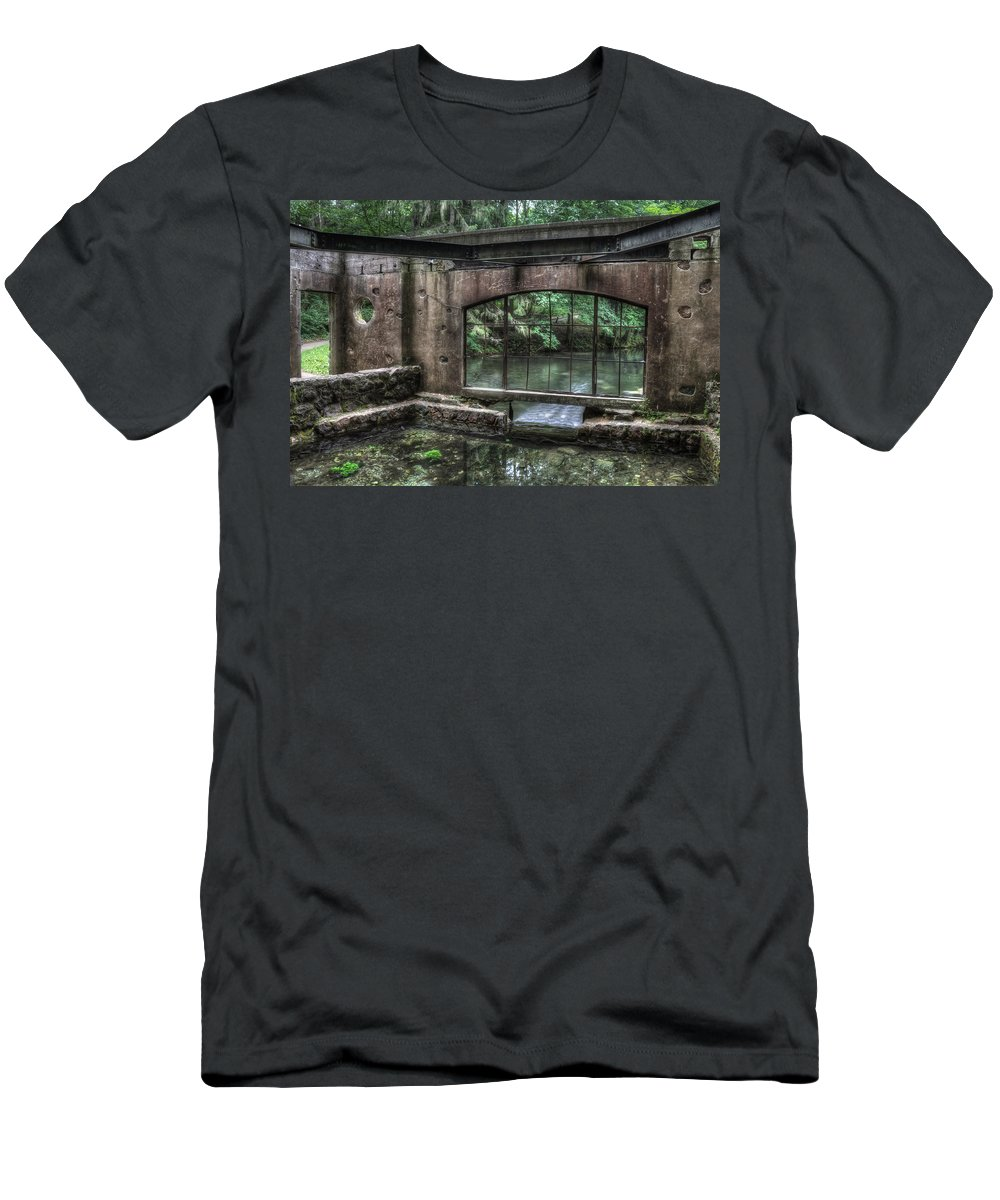 Kettle Moraine Men's T-Shirt (Athletic Fit) featuring the photograph Paradise Springs Spring House Interior 5 by Jennifer Rondinelli Reilly - Fine Art Photography
