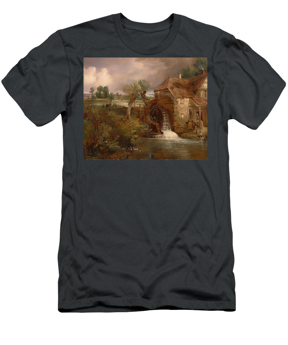 Painting Men's T-Shirt (Athletic Fit) featuring the painting Parham Mill by Mountain Dreams