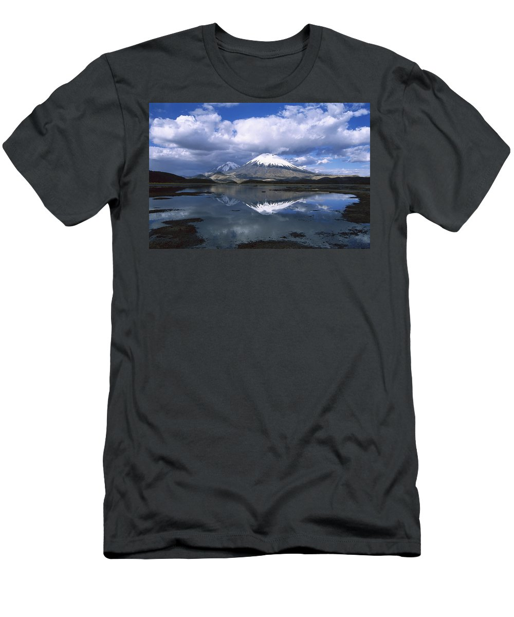 Feb0514 Men's T-Shirt (Athletic Fit) featuring the photograph Parincota Lauca National Park Andes by Tui De Roy