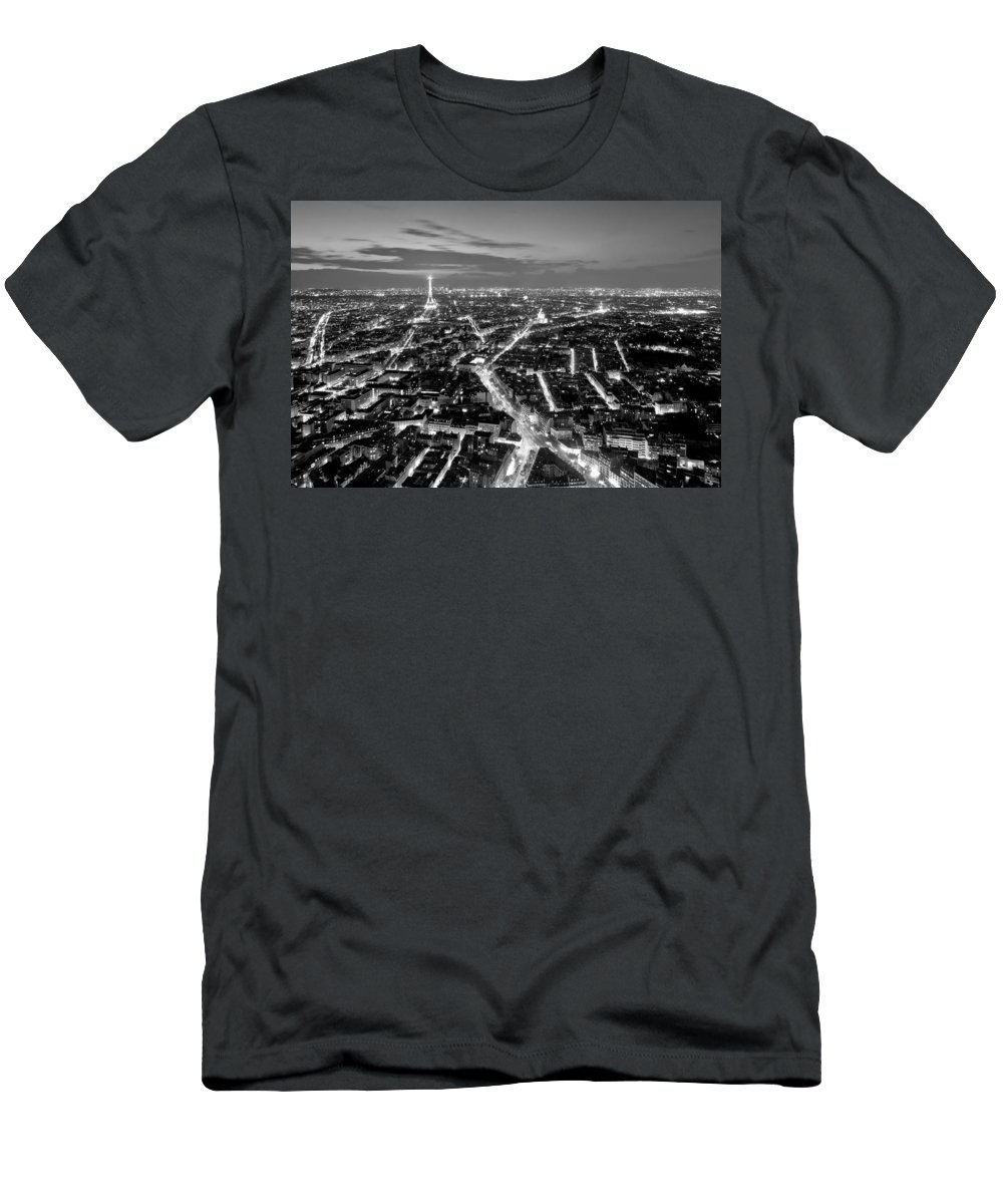 Paris Men's T-Shirt (Athletic Fit) featuring the photograph Paris Cityscape At Night / Paris by Barry O Carroll