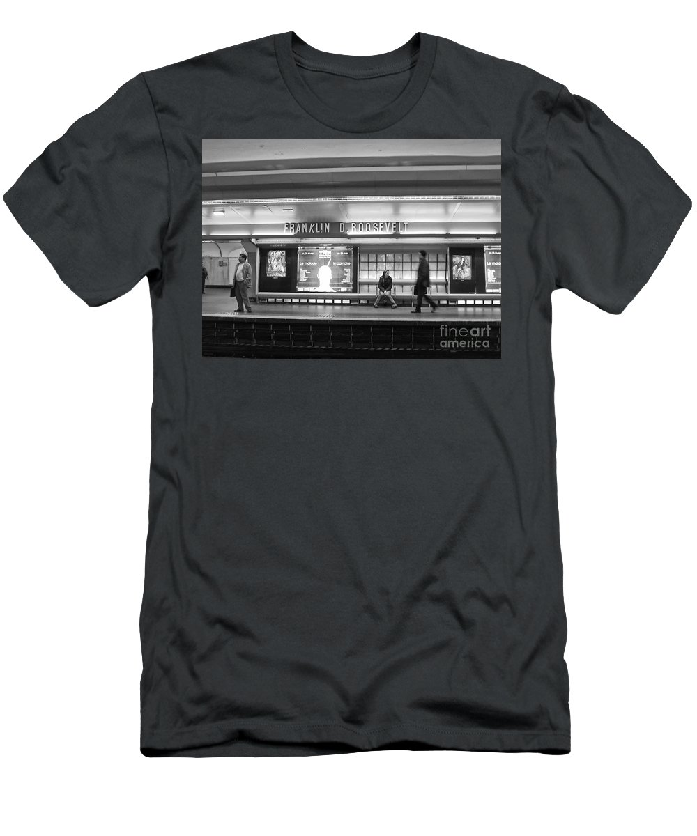 Paris Men's T-Shirt (Athletic Fit) featuring the photograph Paris Metro - Franklin Roosevelt Station by Thomas Marchessault