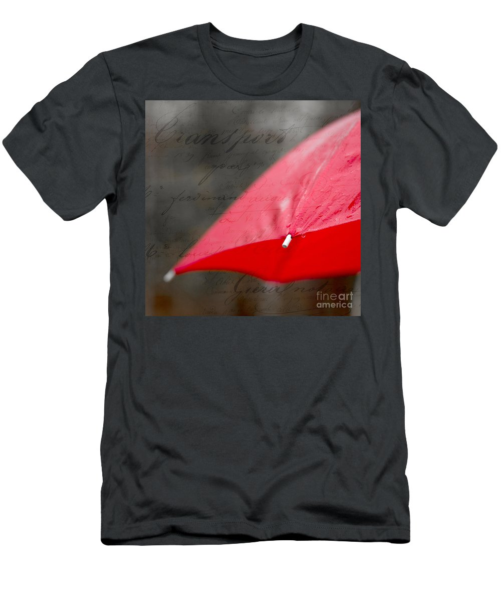 Red Men's T-Shirt (Athletic Fit) featuring the photograph Paris Spring Rains by Edward Fielding