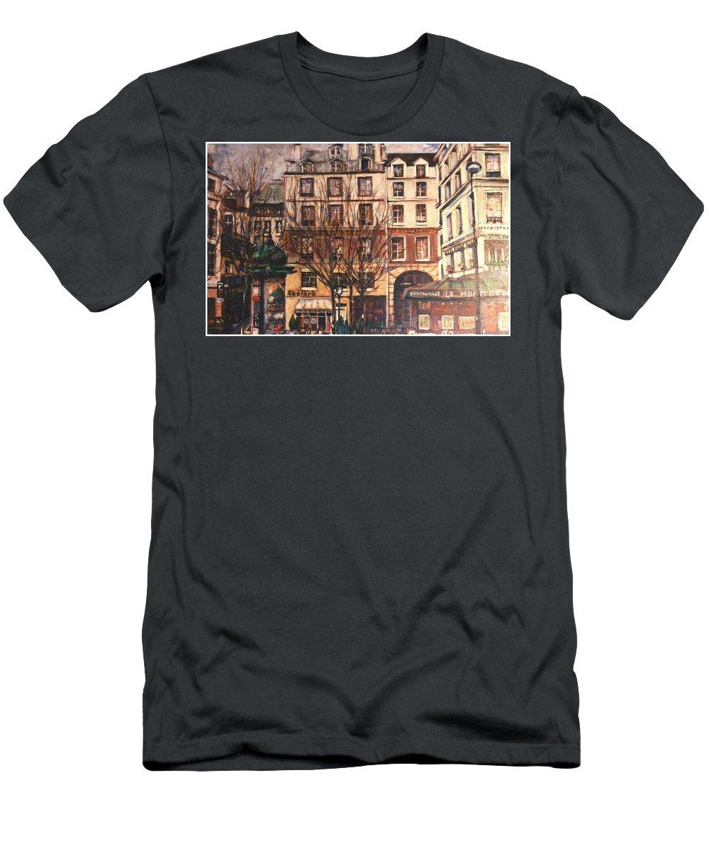 Paris Men's T-Shirt (Athletic Fit) featuring the painting Paris by Walter Casaravilla