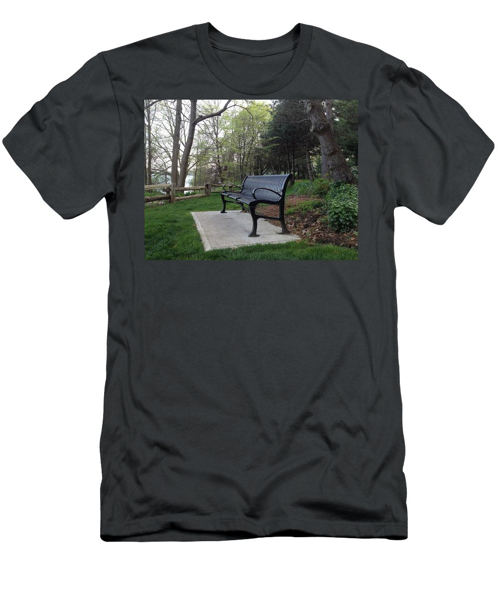 Bench Men's T-Shirt (Athletic Fit) featuring the photograph Park Bench by Pema Hou