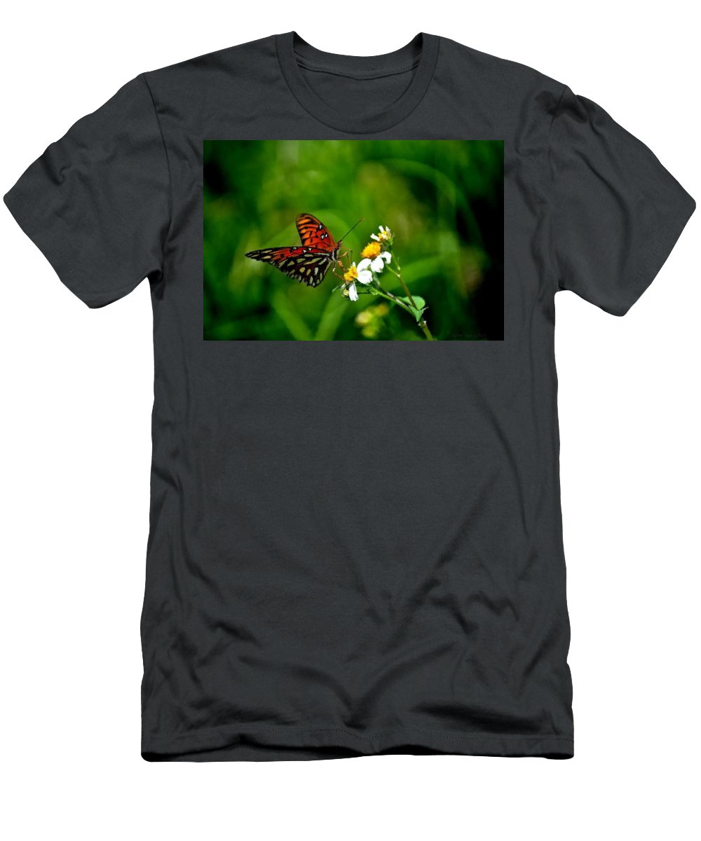 Passion Butterfly Men's T-Shirt (Athletic Fit) featuring the photograph Passion Butterfly Painted by Tara Potts