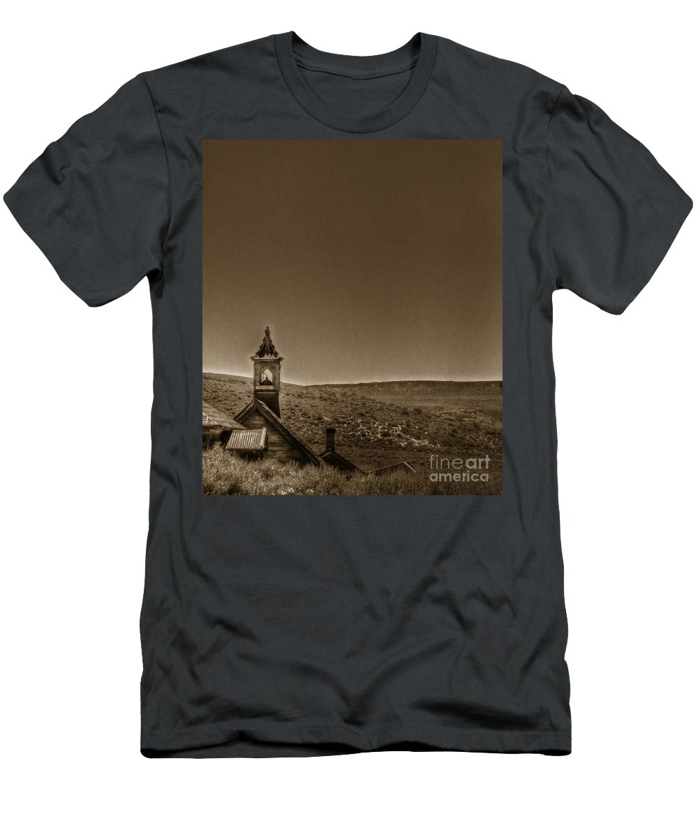 Church; Religion; Religious; Building; Worship; Arches; Catholic; Christian; Bodie; California; Steeple; Top; Bell; Hill; Hilly; Mountains; United States; Usa: Roof; Desert; Ghost Town Men's T-Shirt (Athletic Fit) featuring the photograph Past by Margie Hurwich