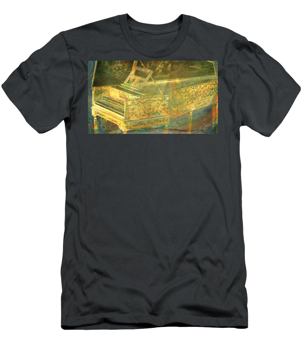 Harpsichord Men's T-Shirt (Athletic Fit) featuring the mixed media Past To Present by Ally White
