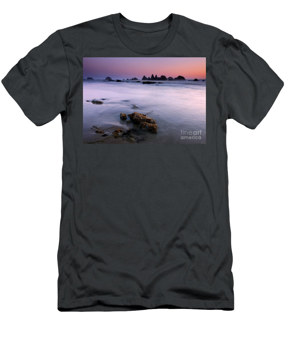 Seal Rock Men's T-Shirt (Athletic Fit) featuring the photograph Pastel Sea by Mike Dawson