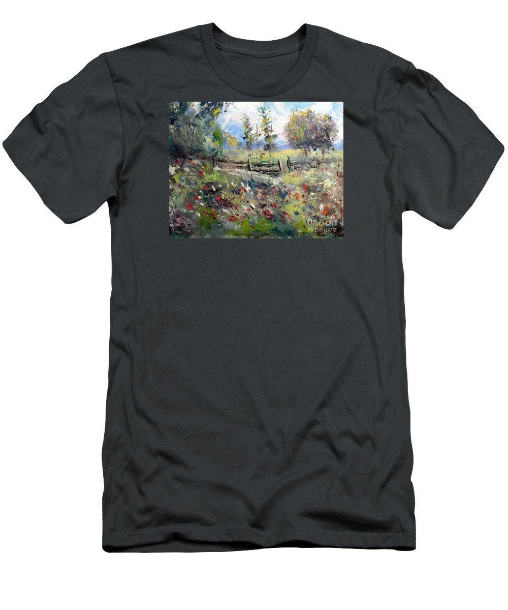 Lee Piper Men's T-Shirt (Athletic Fit) featuring the painting Pasture With Fence by Lee Piper