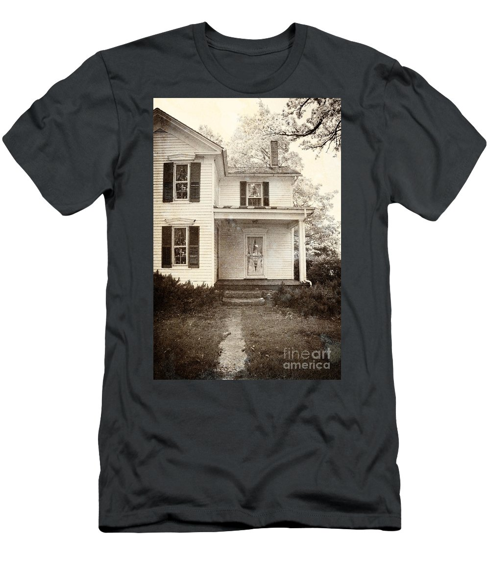 House; Home; Porch; Door; Steps; Cement; Settling; Old; Dirty; Grunge; Broken; Sepia; Facade; Locked; Closed; Siding; White; Wood; Wooden; Path; Trees; Bushes; Windows; Two Story; Farm House Men's T-Shirt (Athletic Fit) featuring the photograph Path To The Door by Margie Hurwich