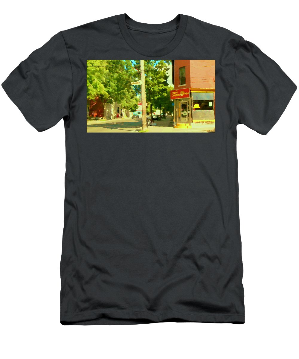 Paul Patate Diner Men's T-Shirt (Athletic Fit) featuring the painting Paul Patate Pte St Charles Fast Food Restaurant Rue Charlevoix Street Scene Carole Spandau by Carole Spandau