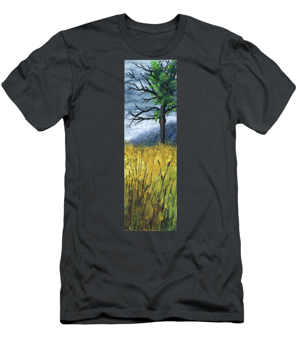 Trees Men's T-Shirt (Athletic Fit) featuring the painting Pauls Tree by Garry McMichael