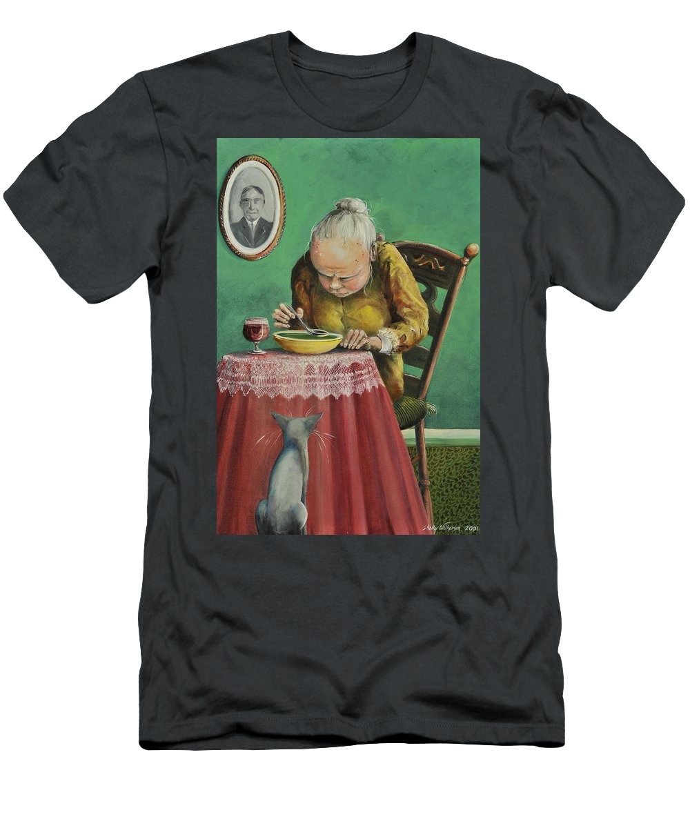 Soup Cabernet Men's T-Shirt (Athletic Fit) featuring the painting Pea Soup And Cabernet by Shelly Wilkerson