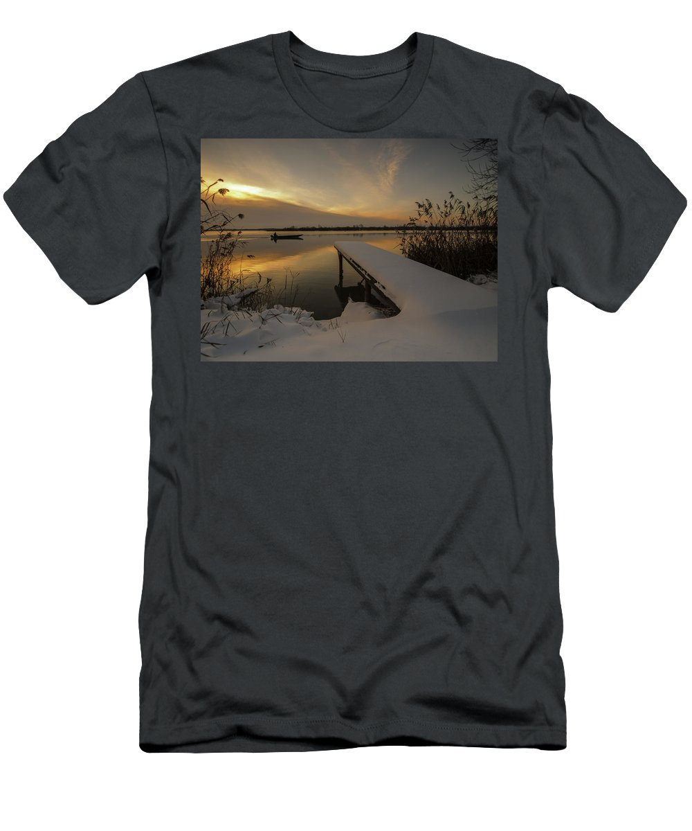 Landscape Men's T-Shirt (Athletic Fit) featuring the photograph Peaceful Morning by Davorin Mance