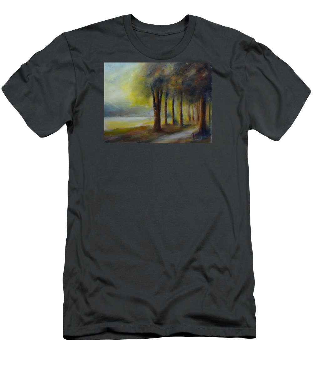 Landscape Men's T-Shirt (Athletic Fit) featuring the painting Peaceful Place by Pusita Gibbs