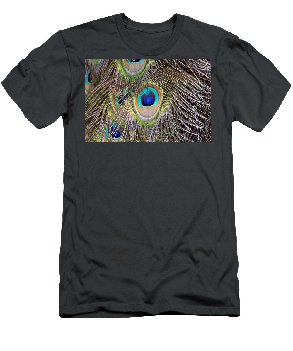 Peacock Men's T-Shirt (Athletic Fit) featuring the photograph Peacock Feathers by David Hart