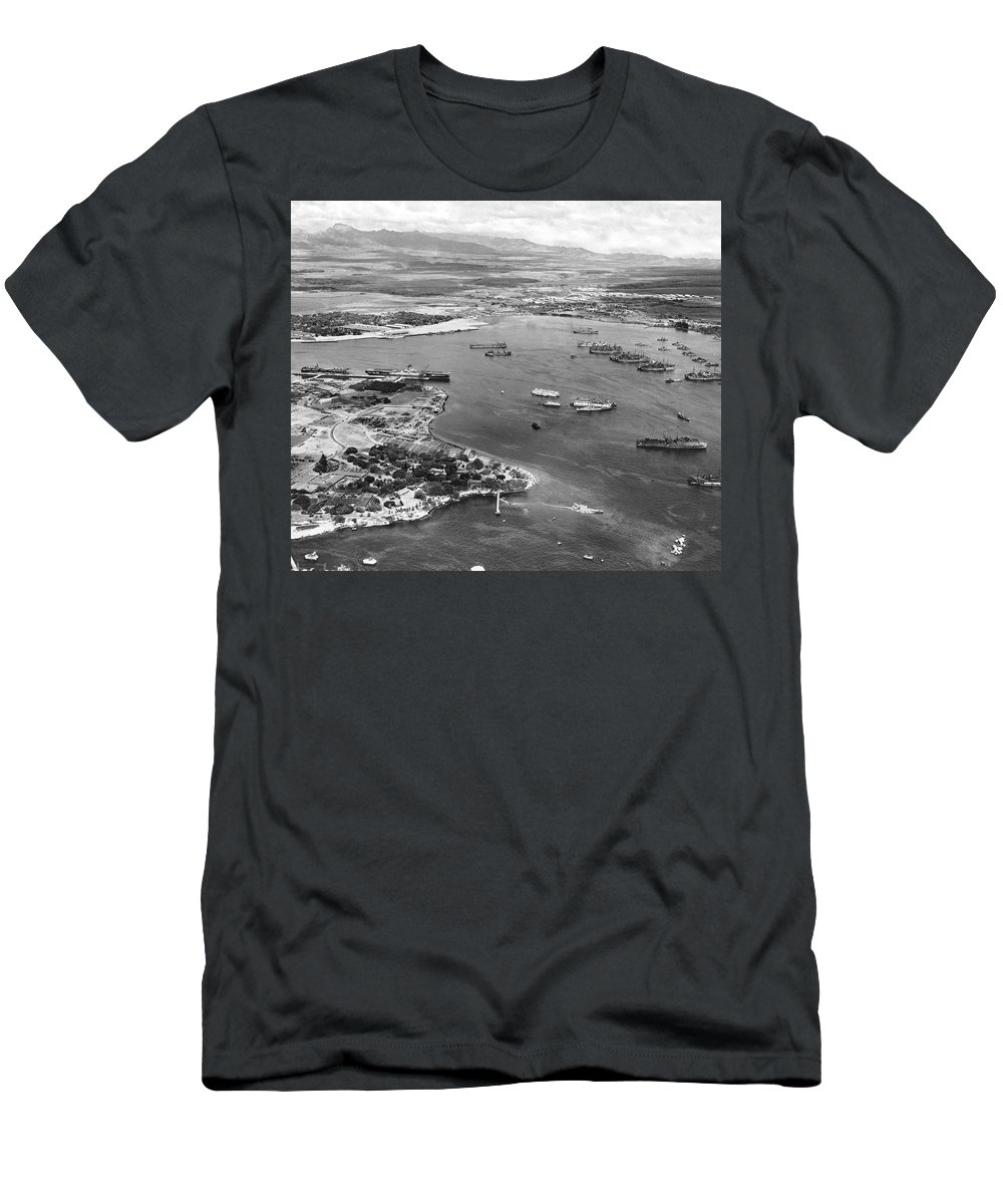 1940's Men's T-Shirt (Athletic Fit) featuring the photograph Pearl Harbor by Underwood Archives