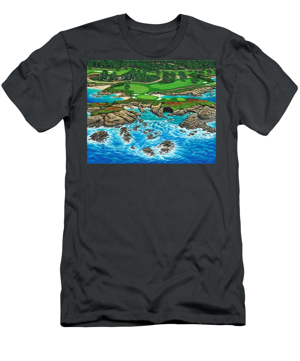 Ocean Men's T-Shirt (Athletic Fit) featuring the painting Pebble Beach 15th Hole-north by Jane Girardot