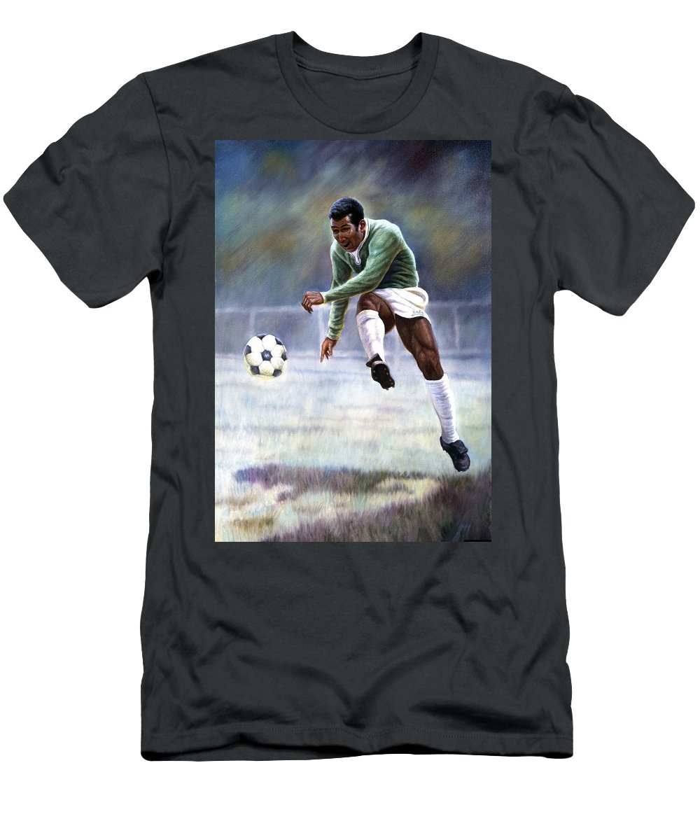 7e5d0eb34 Soccer Prodigy Men s T-Shirt (Athletic Fit) featuring the painting Pele by  Gregory