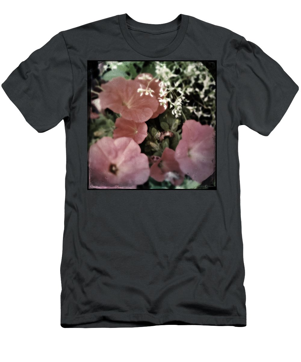 Flowers Men's T-Shirt (Athletic Fit) featuring the photograph Petunias by Tim Nyberg