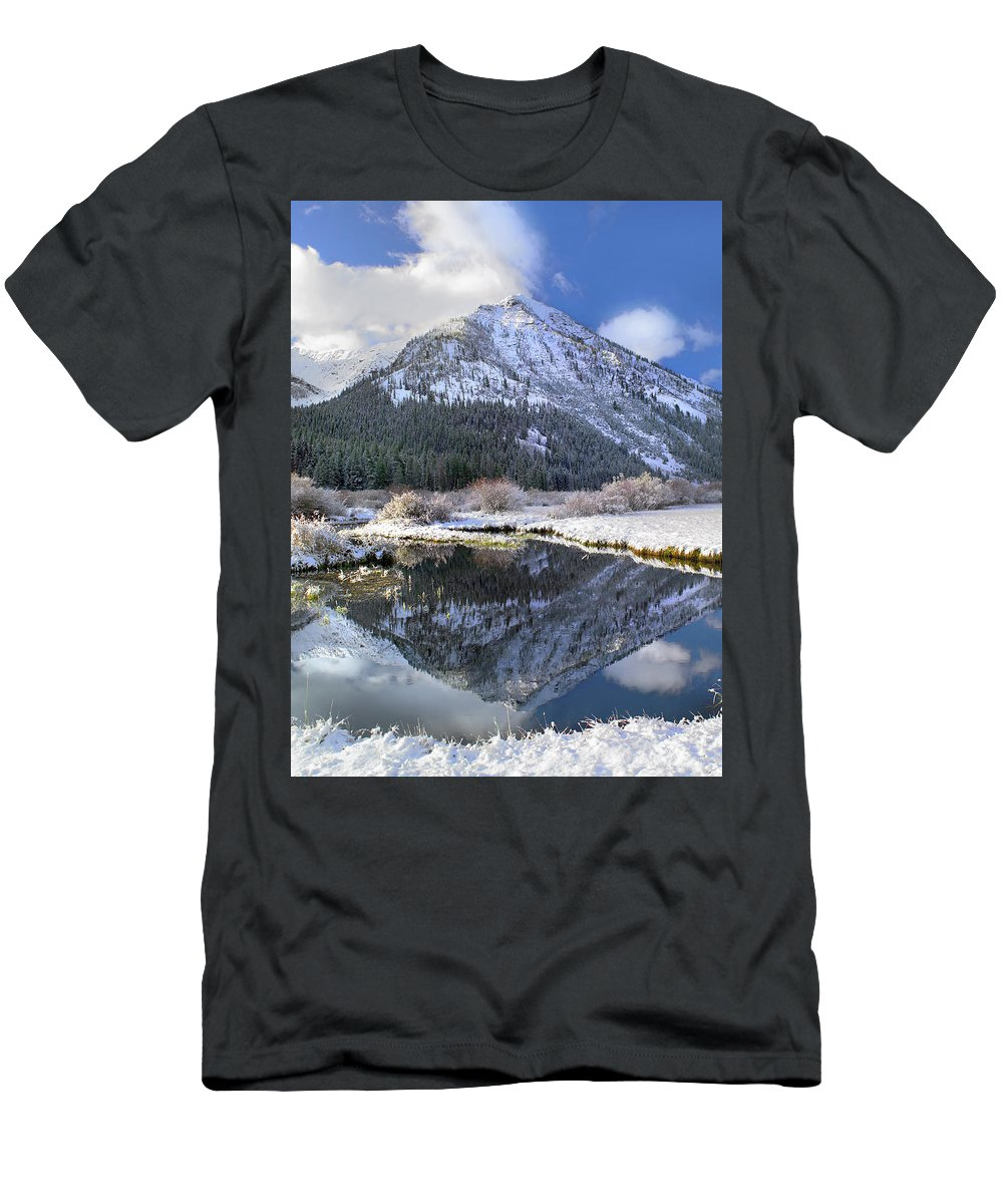 Feb0514 Men's T-Shirt (Athletic Fit) featuring the photograph Phi Kappa Mountain Reflected In River by Tim Fitzharris