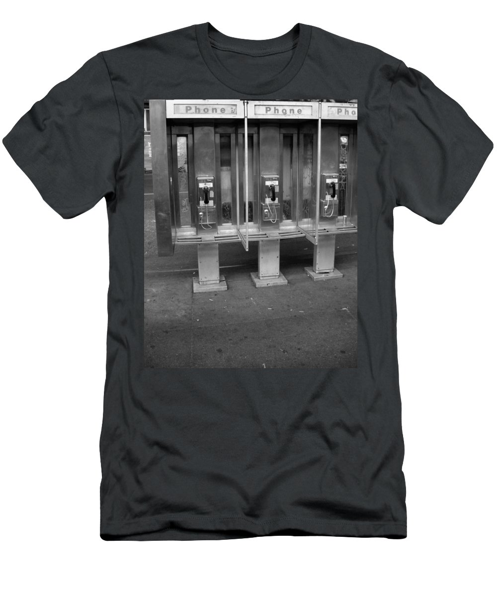 Phone Booth In New York City Men's T-Shirt (Athletic Fit) featuring the photograph Phone Booth In New York City by Dan Sproul