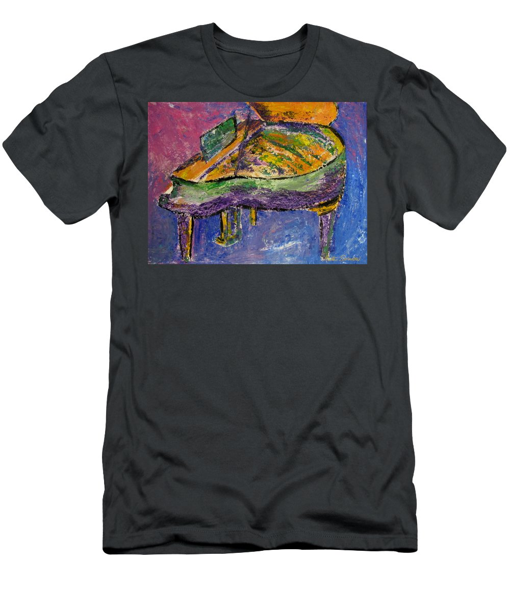 Impressionist Men's T-Shirt (Athletic Fit) featuring the painting Piano Purple by Anita Burgermeister