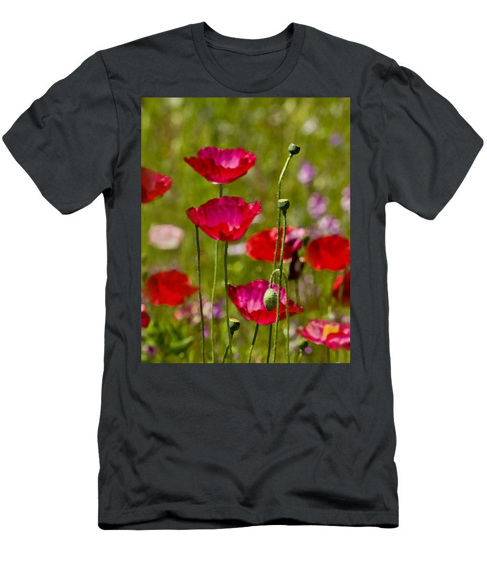 Poppies Men's T-Shirt (Athletic Fit) featuring the photograph Picture Perfect Too by Rich Franco