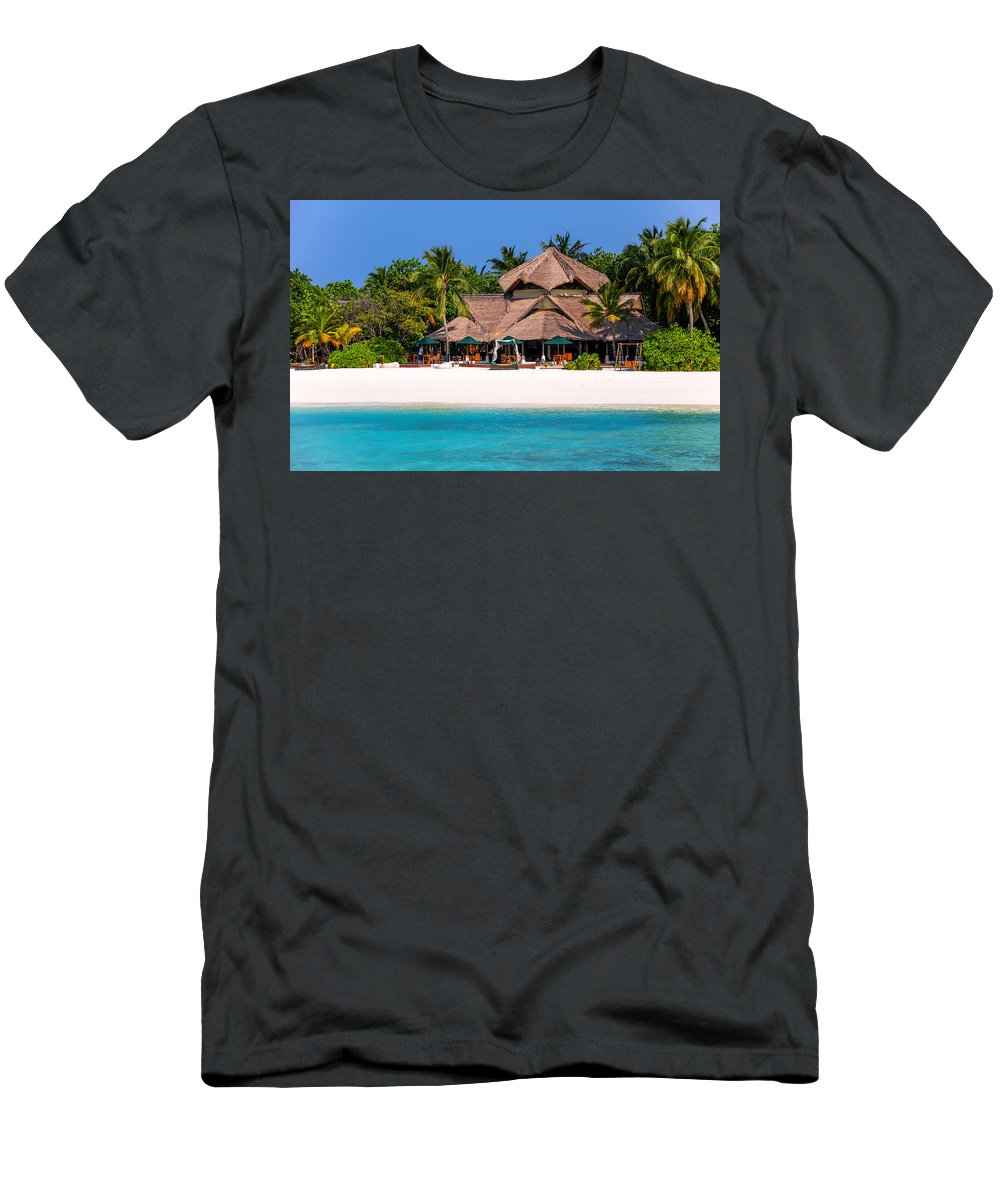 Palms Men's T-Shirt (Athletic Fit) featuring the photograph Piece Of Paradise. Maldives by Jenny Rainbow