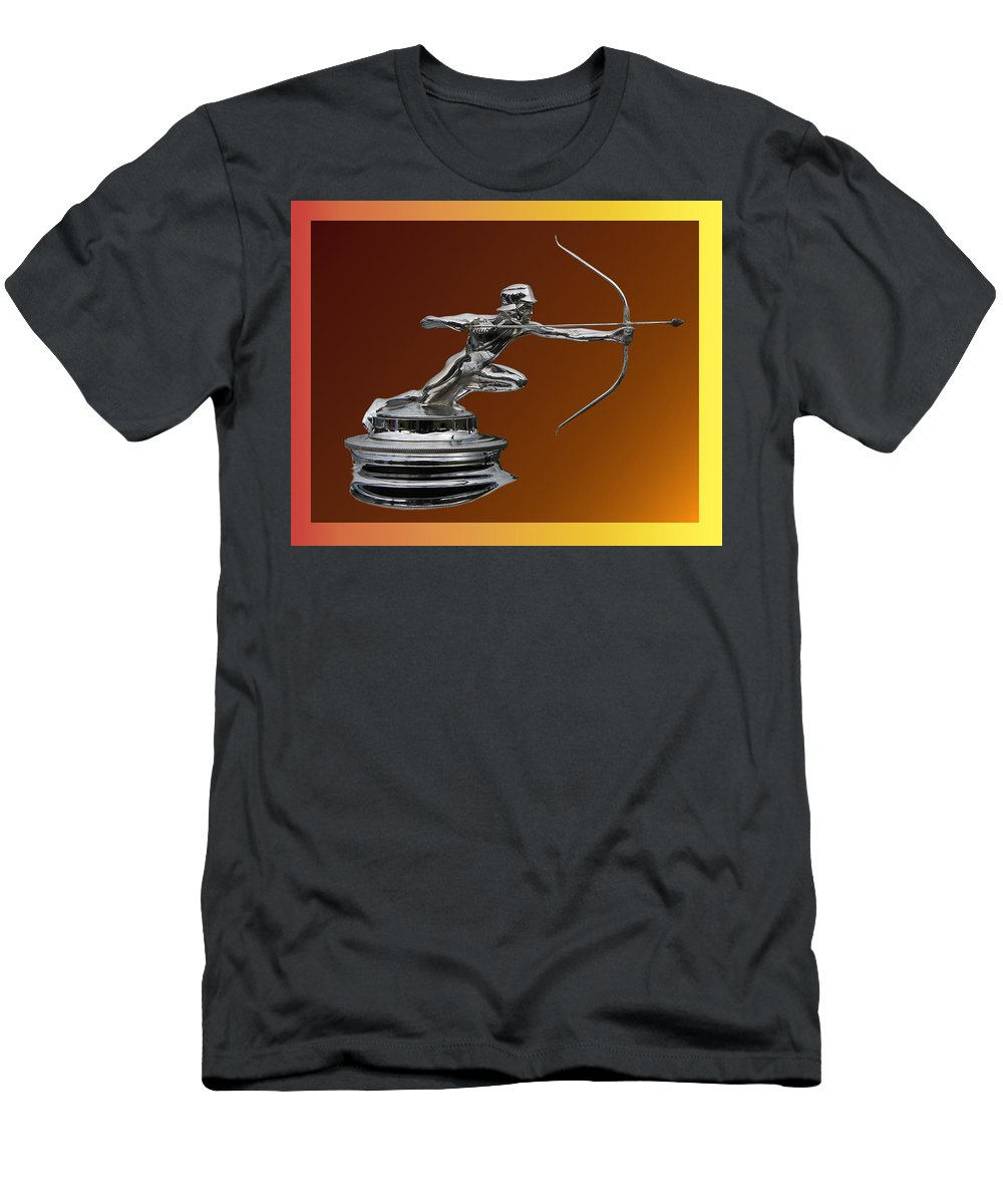 Chrome Mascots Men's T-Shirt (Athletic Fit) featuring the photograph Pierce Arrow Hunter Mascot by Jack Pumphrey