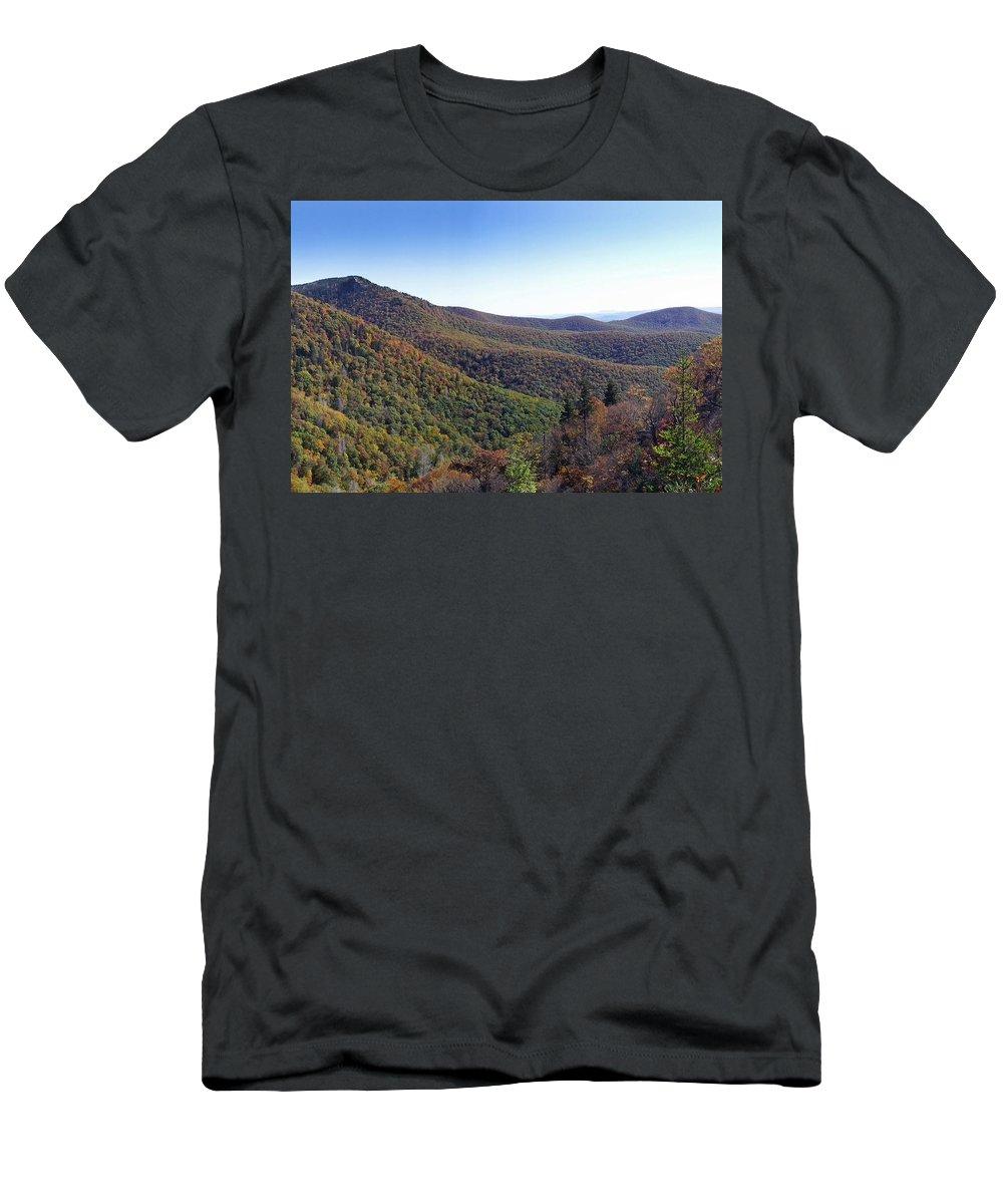 Landscapes. Printscapes Men's T-Shirt (Athletic Fit) featuring the photograph Pilot Mountain Near Balsam Grove by Duane McCullough